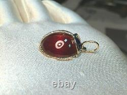 14K Gold LadyBug pendant with Moissanite, enamel and guilloche on silver