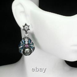 AAA Wonderful Masterpiece Of 925 Sterling Silver Enamel Spider Earrings