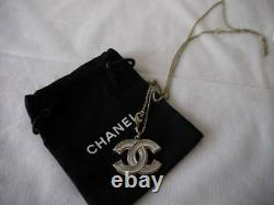 AUTH NEW CHANEL CLASSIC GOLD & SILVER BIG CC LOGO ADJUSTABLE NECKLACE withRECEIPT