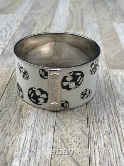Alexander McQueen White/Black Silver Enamel Skull Bangle Bracelet