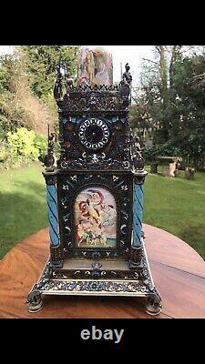 Antique 19thC Austrian Solid silver and enamel tower clock Herman Boehm Vienna