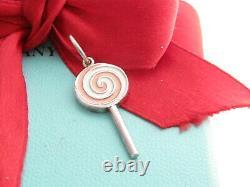 Auth Tiffany & Co Silver Pink Enamel Lollipop Charm For Necklace Or Bracelet