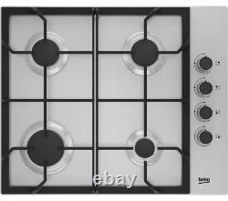 BEKO HIBG64120SX Built-in Gas Hob 4 Burners Dials Stainless Steel Currys