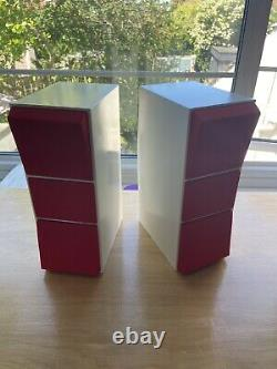 Bang & Olufsen Beovox CX100 Aluminium Speakers In White Enamel With New Cloth