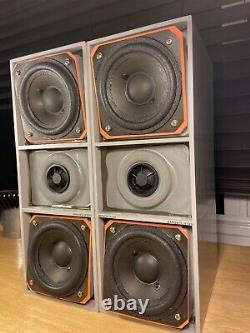 Bang & Olufsen Beovox CX100 Speakers In B&O Grey Enamel With New Multi Cloth