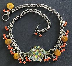 Berber Vintage enamel pendant & coral on a silver rolo chain Moroccan necklace