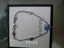 Bracelet Gucci Heart silver 17 18 Cm Blue enamel Sterling Silver RRP £265