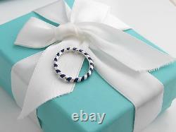 Brand New Tiffany & Co Silver Picasso Blue Stripe Enamel Ring Size 6
