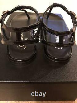 CHANEL Tong Sandals Low Heel Shoes Enamel Black Silver CC Logo EU36.5 Box Rare