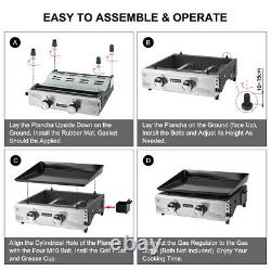 Camplux 2 Burner Gas Plancha Grill Griddle BBQ Camping Portable Stainless Silver
