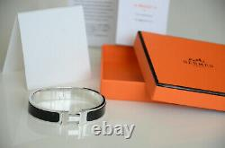 Classic Hermes H Clic Clac Bracelet PHW SILVER BLACK Enamel PM Narrow Bangle