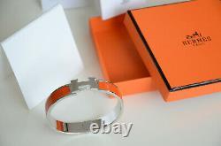 Classic Hermes H Clic Clac Bracelet PHW SILVER ORANGE Enamel PM Narrow Bangle