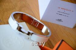 Classic Hermes H Clic Clac Bracelet PHW SILVER WHITE Enamel PM Narrow Bangle