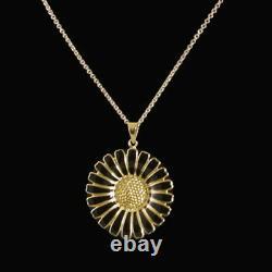 Danish Gilded Silver Daisy Pendant with Black Enamel Lund Copenhagen