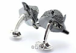 Deakin and Francis Silver & Enamel Shark Cufflinks Ruby Eyes Pave Set