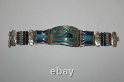 EGYPTIAN HORUS EYE RED CORAL-Lapis Turquoise Agate Silver Enamel Bracelet Cuff