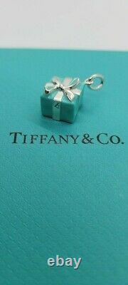 EUC Tiffany & Co Blue Enamel Gift Box Ribbon Charm Sterling Silver POUCH BOX