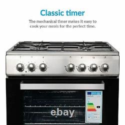 ElectriQ 60cm Single Oven Dual Fuel Cooker Stainless Steel