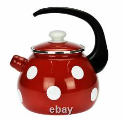 Enamel Stainless Steel Whistling Kettle 2,5L Hob Stove Gas Induction Red Dots