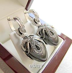 Fascinating Enameled Earrings Made Of Solid Sterling Silver 925 With Gray Pearl