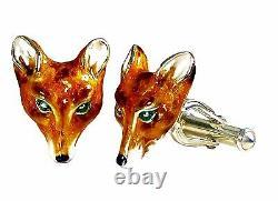 Fox Cufflinks, Sterling Silver, Enamel. G. Daniloff & Co