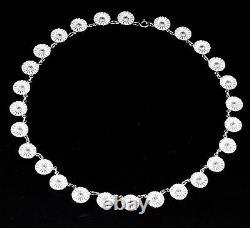 GEORG JENSEN Daisy Rhodinated Sterling Silver Necklace w. White Enamel. 11 mm