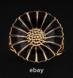GEORG JENSEN Gilded Daisy Sterling Silver Ring w. Black Enamel. 18 mm. NEW