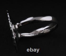 GEORG JENSEN Rhodinated Daisy Sterling Silver Ring w. Black Enamel. 18 mm. NEW