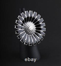 GEORG JENSEN Rhodinated Daisy Sterling Silver Ring with Black Enamel. 43 mm. NEW