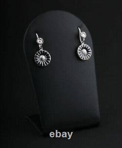 GEORG JENSEN Sterling Earrings. Silver Daisy Rhodinated with Black Enamel. NEW