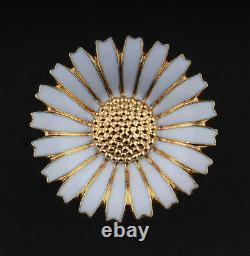 GEORG JENSEN Sterling Ring w. White Enamel. Gilded Silver. Daisy. 33 mm. NEW