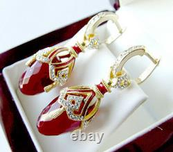 GORGEOUS MADE OF STERLING SILVER 925 EARRINGS with GARNET and ENAMEL
