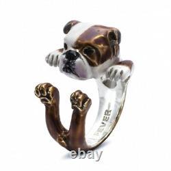 Genuine Dog Fever ENGLISH BULLDOG Enameled Italian Silver Hug Ring M 6 / 7 $360