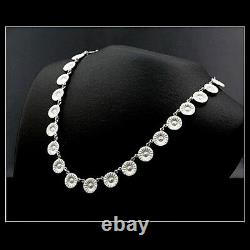 Georg Jensen Rhodinated Silver Necklace DAISY w. White Enamel 11 mm