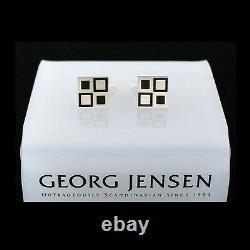 Georg Jensen Silver Cuff Links # 87 with Black Enamel MOSAIC