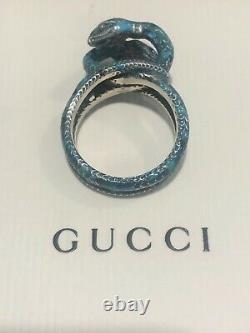 Gucci Double Snake Silver Enamel Turquoise Ring 8.25, NEW