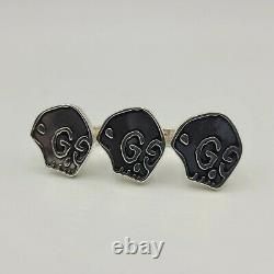 Gucci Ghost Aged Silver Three GG Skulls Double Finger Ring S 462015 0701