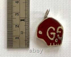 Gucci Ghost Red Skull Pendant Charm Jewelry Enamel Silver Gg Rare New In Box