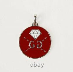 Gucci Red Enamel Round Silver Pendant Charm withDiamond Motif 458048 8519