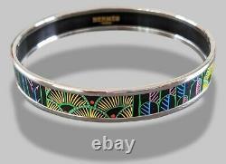 Hermes 95 Graffitis/Silver Enamel TREE OF SONG Bangle Bracelet Sz70, BNIB