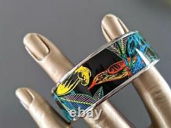 Hermes 98 Graffitis/Black/Silver Enamel TREE OF SONG Wide Bangle Sz70, BNIB