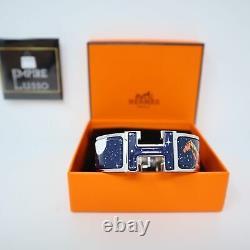 Hermes CLIC Clac H Space Derby Bracelet Silver Enamel Bracelet Cuff Pm