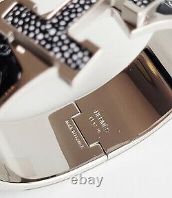 Hermes Printed Enamel Clic Clac bracelet Bangle guepards Cheetahs PM Silver PHW