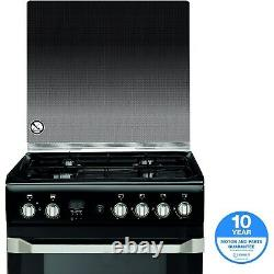 Indesit ID60G2K 60cm Double Oven Gas Cooker Black