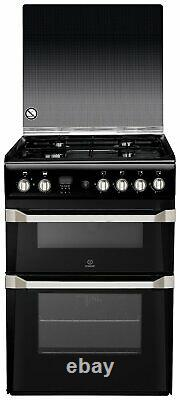 Indesit ID60G2K Free Standing 60cm 4 Hob Double Gas Cooker Black