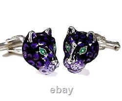 Jaguars Cufflinks, Sterling Silver, Enamel. G. Daniloff & Co