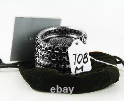 John Hardy St. Silver Naga Lava Black Sapphire Enamel 5-row Bracelet New Sz S & M