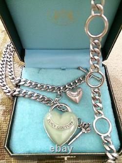 Juicy Couture Adjustable Link Chain Belt Necklace With Heart Locket Charm