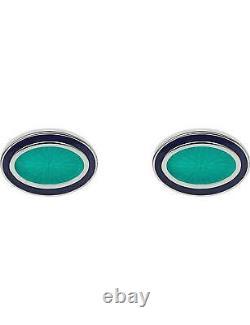 LINKS OF LONDON Guilloche 925 Silver Turquoise Enamel Oval Cufflinks RRP160 NEW