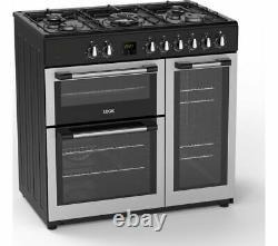 LOGIK LRC90S21 90 cm Dual Fuel Range Cooker Silver Currys